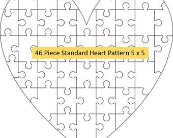 7 Pack Jigsaw Vector DXF/SVG Files for cutting machines, heart shape puzzle, love, valentines day, wedding, cricut, beameo