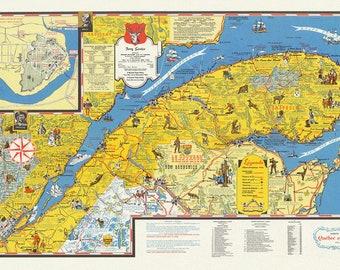 "Quebec: Carte de vacanes, Quebec et la Gaspesie  Holiday guide, 1959, map on heavy cotton canvas, 22x27"" approx."