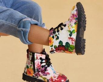 Funky Flower Dr Marten Style Waterproof Fashion Baby Toddler Children's Boots
