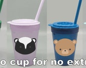 14oz Woodland Creatures Kids Cup BPA Free FREE SHIPPING Custom Cup Add Name Kids Cup Handmade Birthday Party Goodie Bag Gifts
