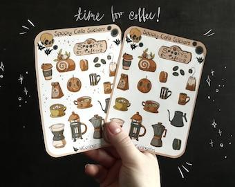 Creepy Cute Sticker Sheet - Spooky Cafe Sticker Sheet - Coffee Sticker Sheet - PSL Sticker Sheet, Creepy Cute Stickers, Macaron Stickers