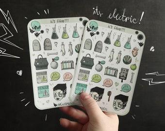 Creepy Cute Sticker Sheet - Bride of Frankenstein Sticker Sheet - Goth Sticker Sheet - Spooky Stickers, Gravestone Stickers, Makeup Stickers