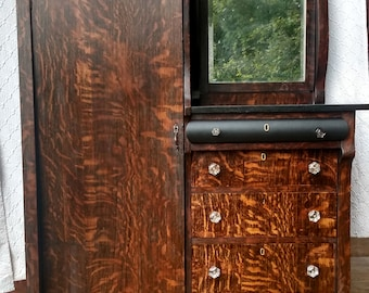 Gorgeous Tiger Oak Door Gentleman's Wardrobe Armoire Tall Boy. Closet and five drawers. Large beveled mirror. French Empire.
