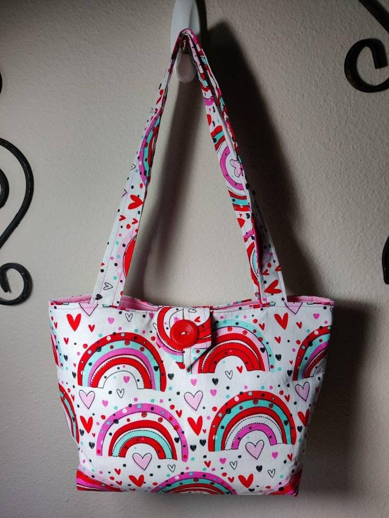 Hearts and Rainbows Mini Lined Tote Bag