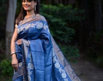 Organic linen jamdani with weaving work and running bp for wedding party wear saree