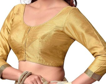 Orange Cotton Stitched Blouse With Butterfly Applique For Women/'s Party Festive Wedding Wear Tops /& Tees Tunic Readymade SariSaree Blouse