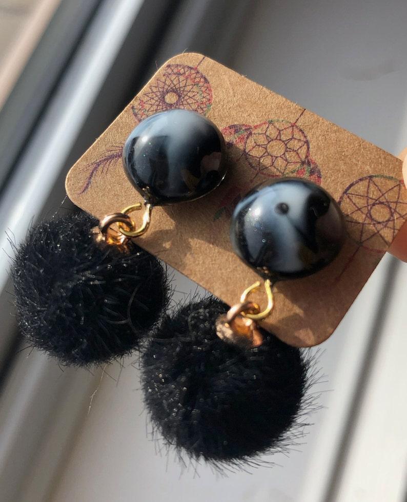 cat earrings Handmade resin stud Earrings wpompom stainless steel stud hypoallergenic earrings