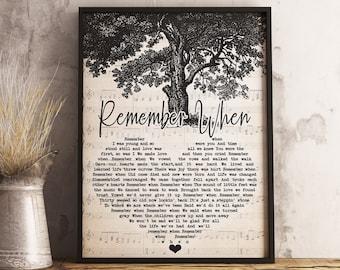 Alan Jackson Remember When Lyrics Poster Best Gift Ever Song Lyrics Poster.