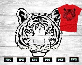 Tiger Head SVG, Tiger Head stencil, Instant Download file Svg PNG DXF eps pdf jpeg Cutting File for Cricut, Silhouette printable, Tiger Svg