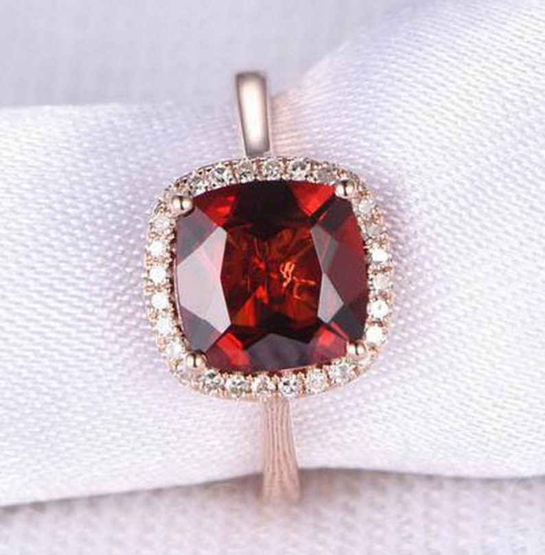 Promise Ring Natural Red Fire Garnet Ring Delicate Ring Rose Gold Ring Diamond Ring January Birthstone Ring 925 Sterling Silver Ring