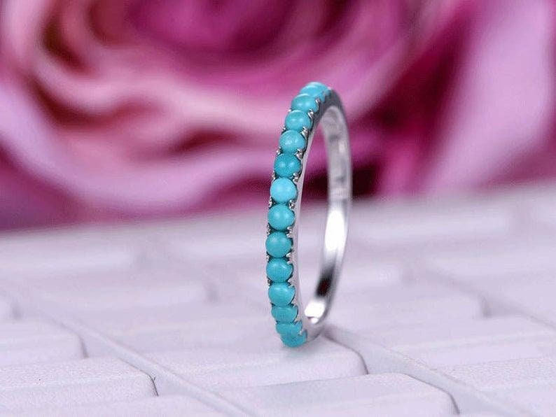 mothers day 18k gold Stacking ring band Turquoise Engagement ring Turquoise silver half eternity ring band turquoise women silver ring