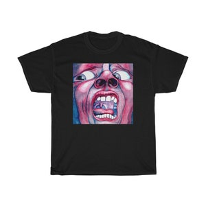 King Crimson vintage retro front back shirt In the court of the crimson king classic t-shirt,vivid colors blast from the past progressive