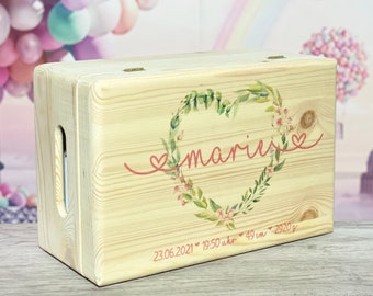 More personalized reminder box birth with name and date, wooden box, baby, memory box, gifts, baptism, personalized gifts