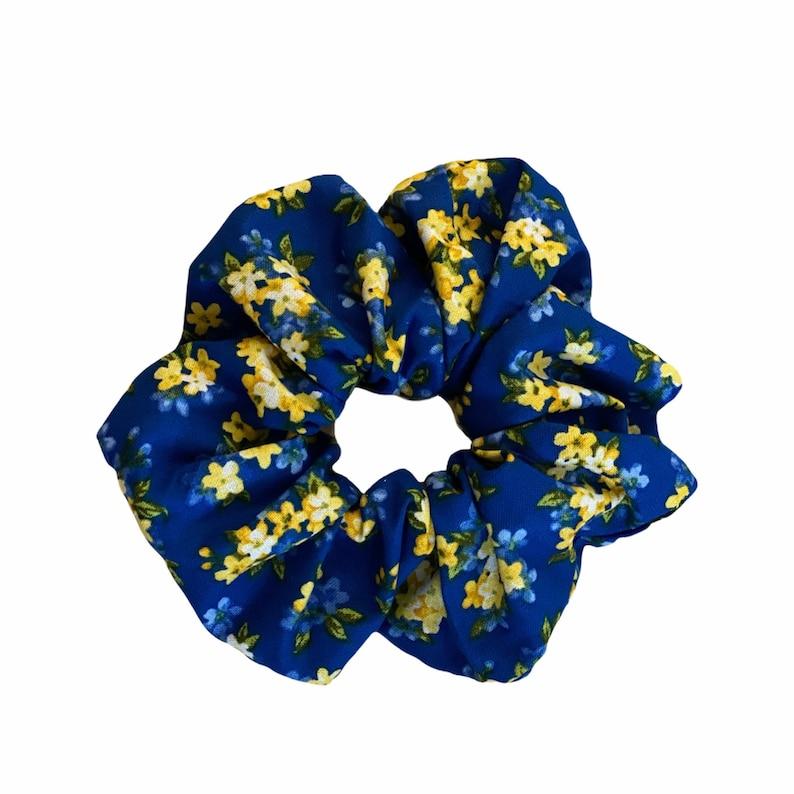 Lovely Blue Yellow Flower Scrunchie