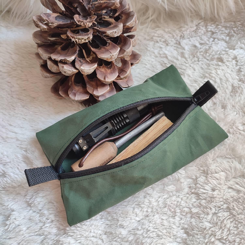 Mäppchen rechteckig aus Oilskin mit Reißverschluss, 100 % handgefertigt, für Outdoor-Leidenschaftler