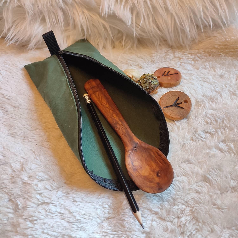 Mäppchen aus Oilskin mit Reißverschluss, 100 % handgefertigt, für Outdoor-Leidenschaftler (Bushcraft | Survival | Trekking | Tracking)