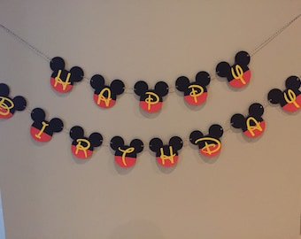 Mickey Mouse simple birthday banner