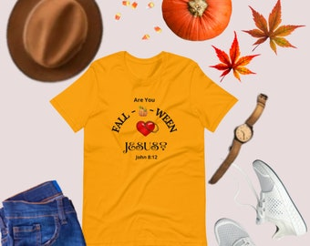 Holiday Gifts for Mom and Dad, Women's Fall T-shirt, Are You Falloween Jesus Shirt, Halloween Shirt, Church Shirt, Unisex Holiday Tee