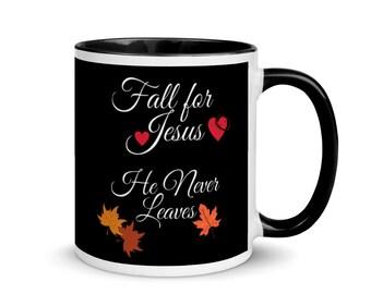 Black Holiday Mug, Fall Coffee Mug, Black and White Coffee Mug, Fall For Jesus Cup, Holiday Gifts For Mom, Gifts for Dad,  Black Coffee Cup