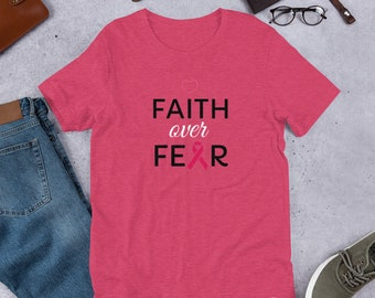 Breast Cancer Awareness Shirt, Faith Over Fear Shirt, Pink Ribbon Shirt, October Cancer Awareness, Cancer Black Shirt, October Unisex Tee