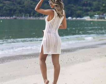Fishnet Beach Swimsuit Cover-Up In Black/White