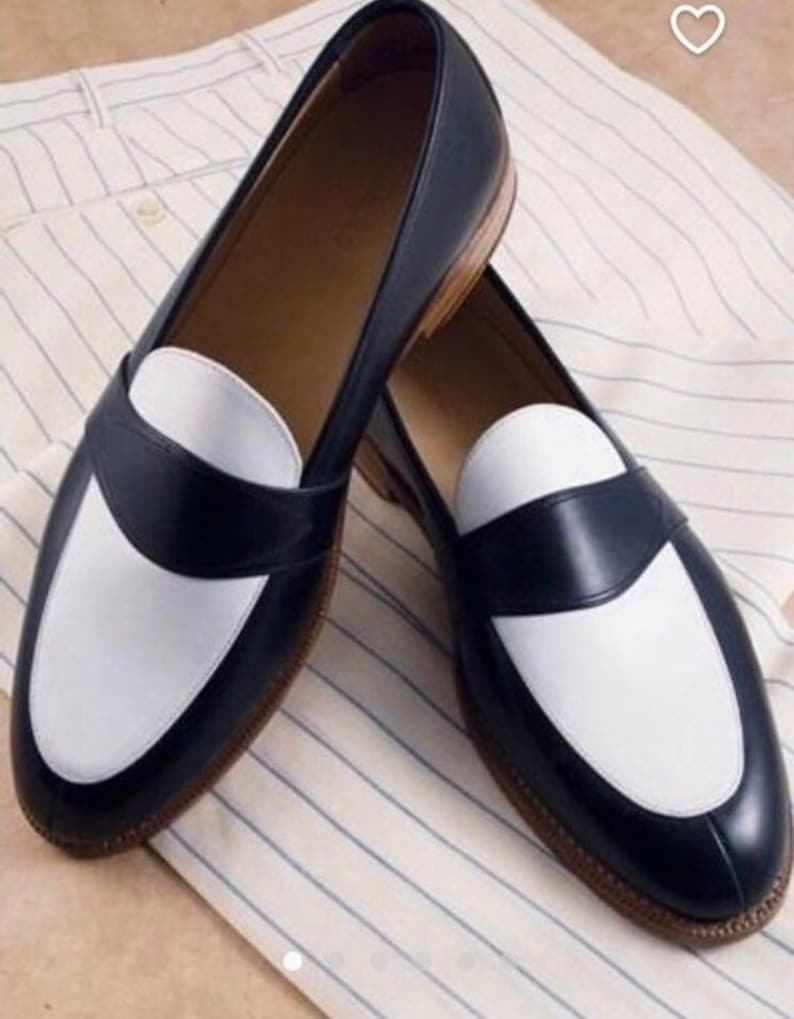 1950s Men's Shoes | Boots, Greaser, Rockabilly Men's Handmade Geninue Two tone Black and white leather shoes $201.74 AT vintagedancer.com