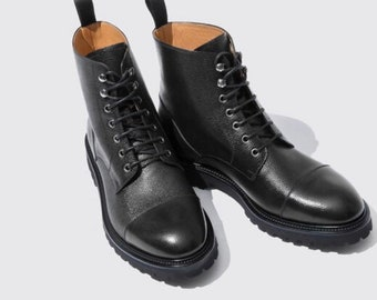Men's handmade genuine grains leather marching High ankle boots