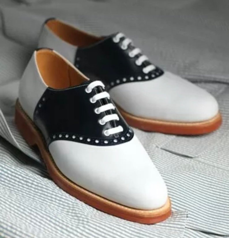 1950s Men's Shoes | Boots, Greaser, Rockabilly Men's Handmade Geninue Two tone leather lace up Oxford brogues $201.74 AT vintagedancer.com
