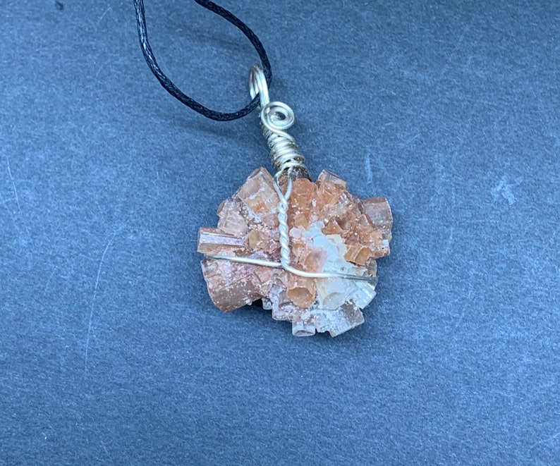 Aragonite Necklace Wire Wrapped Hand Made Beautiful Abundance NCK-0328