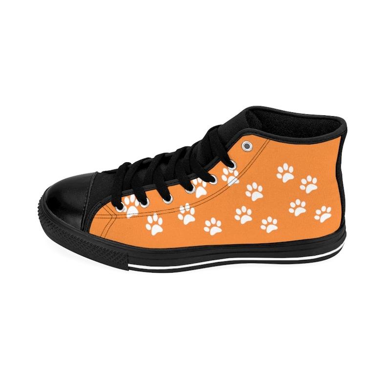 Orange High Top Sneakers Custom Printed with Dog Paw