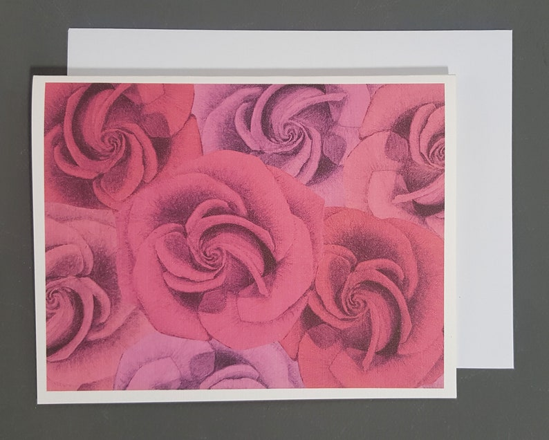Rose greeting card Pink rose note card Everyday flower card Mother/'s day card Bouquet Card