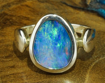 Size 8 Opal Ring  Silver Opal Ring  Double Band Rectangular Setting  Opal Jewelry