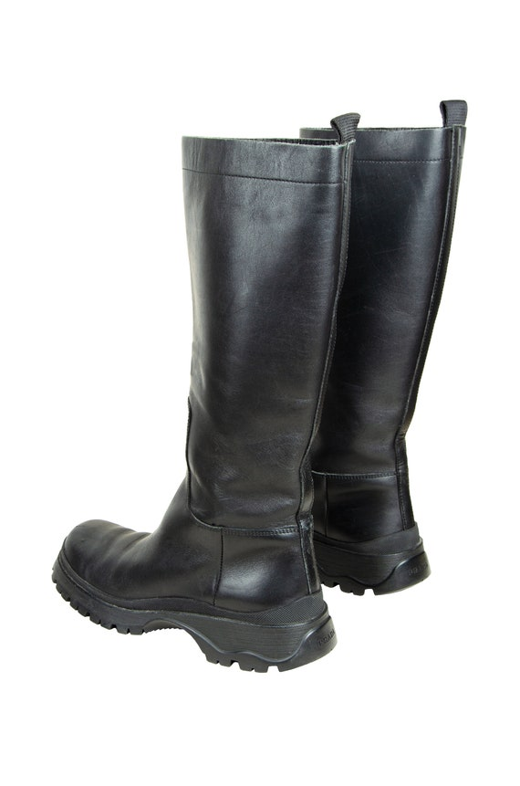 90s Prada black leather chunky lug sole boots / 1… - image 6