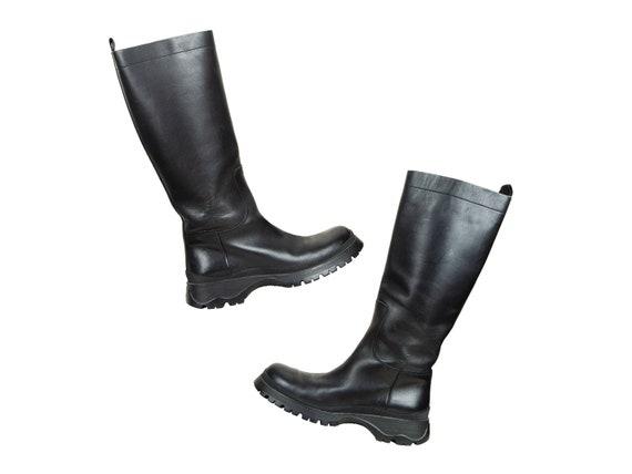 90s Prada black leather chunky lug sole boots / 1… - image 1