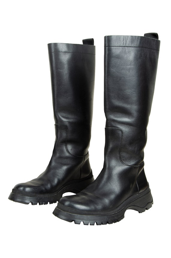 90s Prada black leather chunky lug sole boots / 1… - image 4