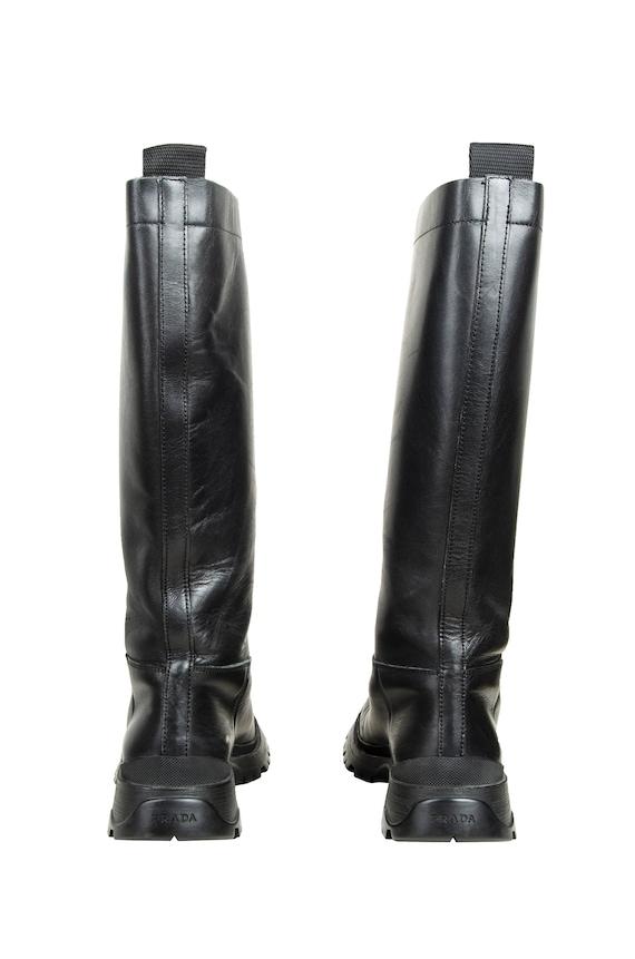 90s Prada black leather chunky lug sole boots / 1… - image 5