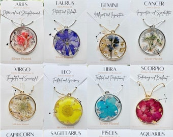 Zodiac Sign, Month Birthstone Real Flower Color, Gift for her, Personalized Handmade, Pressed Flower Leaves Pendant, Her, Birthday Gift Her