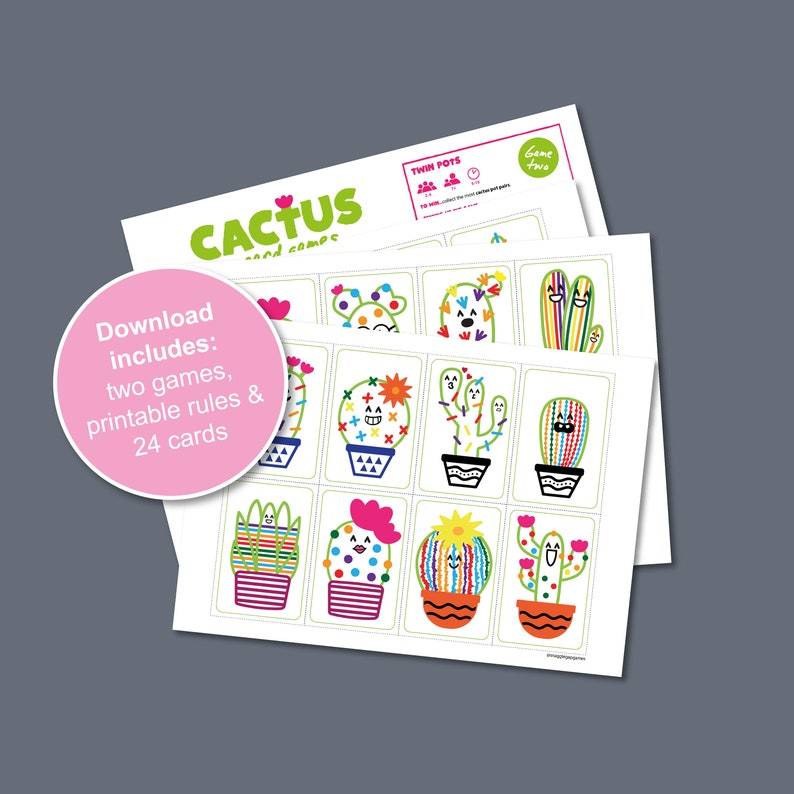 Cactus Card Games Printable Game  Print and Play at home image 0