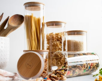 Glass Storage Jars with Lids   Glass Jar with Bamboo Lids   Food Jars   Glass Containers for Pantry Pantry Storage Containers Wood   5pc Set