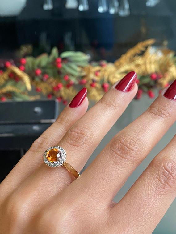 Orange Citrine Cluster Ring Size 9 34 Sterling SilverGenuine CitrineTotal 2ct Round CutCitrine BandVintage Citrine Ring For Women