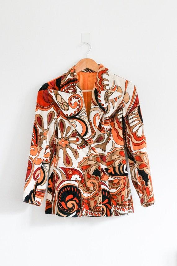 Vintage 70s velvet psychedelic print blazer