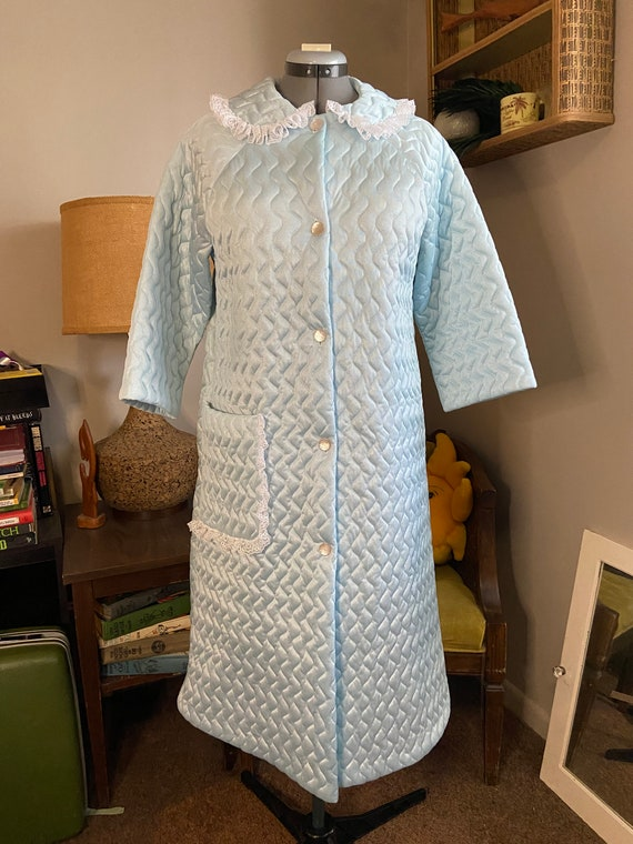 Baby Blue Polyester Quilted Housecoat with Lace Tr