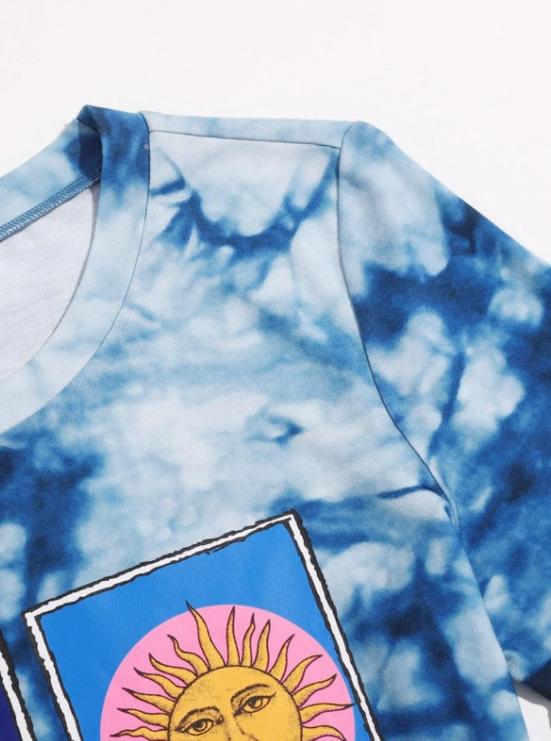 Sun and Moon Cami Tee Aesthetic Short Sleeve Sun and Moon Tie Dye Crop Top Cute Crop Top Crop Top Women Blouse Y2K Crop Top Tops