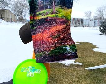 Disc golf sports towel - Tee pad view