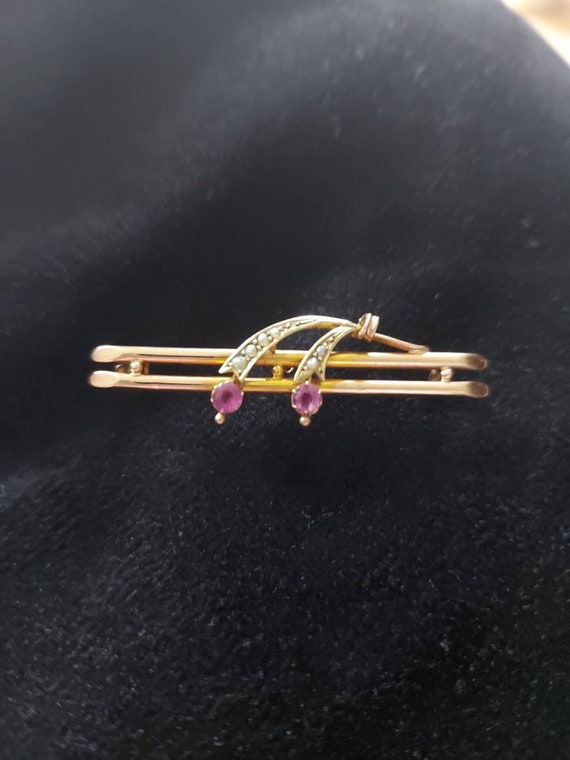 Ruby and seed pearl brooch