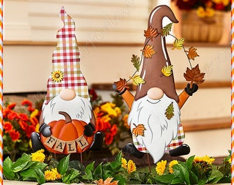 Fall GNOME Garden Yard Stake Thanksgiving Harvest Outdoor Lawn Decoration | PUMPKIN or LEAVES Gnome
