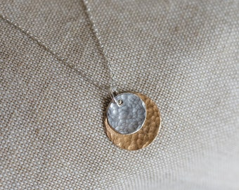 Two Tone Eclipse Pendant, sterling silver and copper necklace