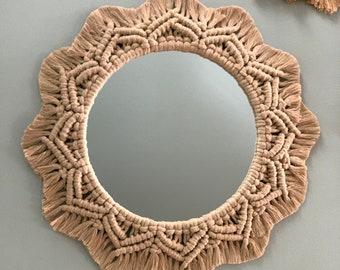 Macrame sunflower mirror, handmade boho round mirror, macrame wreath, mandala, wall-hanging home decor, nursery mirror, housewarming gift