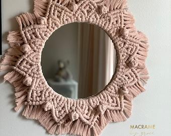 Macrame rosie mirror, macrame mandala, macrame nursery mirror, boho mirror, boho chic, eclectic, handmade wreath, wall-hanging home decor