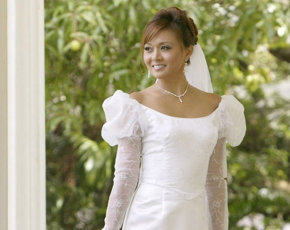Classic Hawaiian Long Sleeve Wedding Dress | Custom Order Wedding Dress Ilima 21213